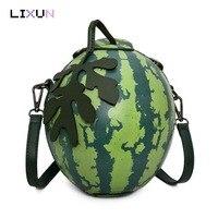 Fashion Women Messenger Bags Personality Leaves Watermelon Shape Mini Girl Party Handbags Luxury Brand Crossbody Shoulder