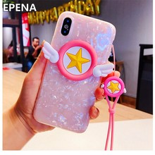 Cute Cartoon Sailor Moon Wings Case for IPhone 8 7 6 6s Plus Pink Sakura 3D Magic Angel Case For IPhone X XR XS Max Cover Strap(China)