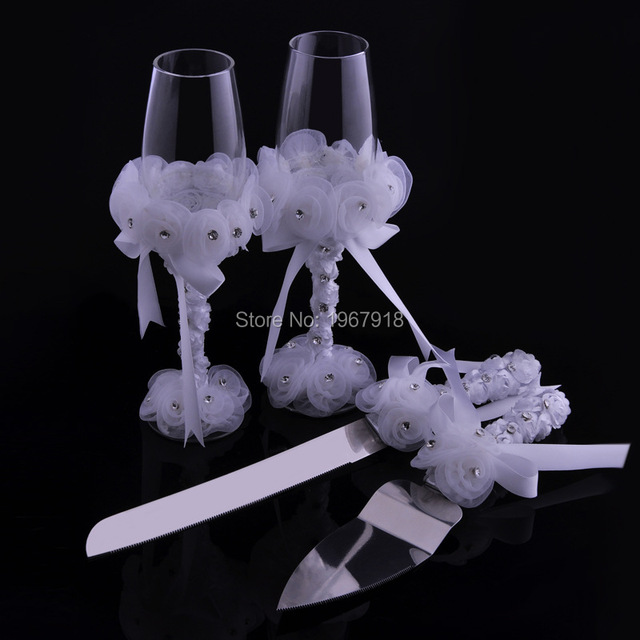 Marriage Romantic Wedding Decoration 4pcs/set Wedding Cake Knife And Server  Set + Wedding Toasting