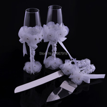 Marriage Romantic wedding decoration 4pcs/set Wedding Cake Knife and Server Set + Wedding Toasting Flutes Champagne Glasses