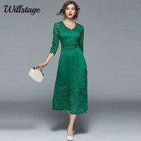 Willstage NEW 2018 Spring Lace Dresses Elegant Party Evening Ball Dress Women Half Sleeve V neck Black Floral Vintage Vestidos