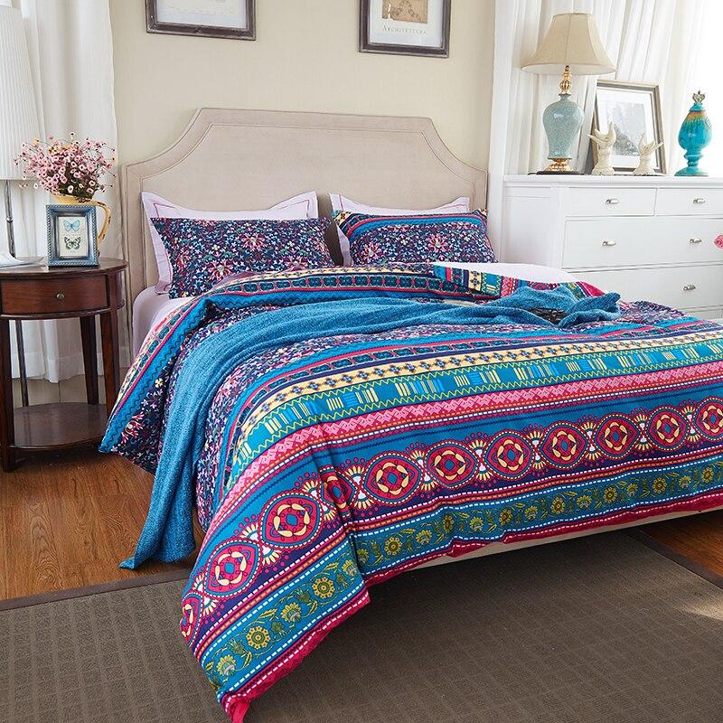 Papa Mima luxury mandala print blue bedlinens high quality sanding cotton fabric Queen King size duvet