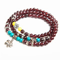 Wholesale Women Ladies Genuine Natural Wine Red Garnet Crystal Round Beads Stretch Charm Bracelet 6 mm