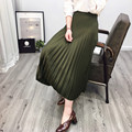 2017 New Spring Pleated Faux Leather Skirts Women American Solid Color Black/Green High Waist Side Zipper Mid-calf  Female Skirt