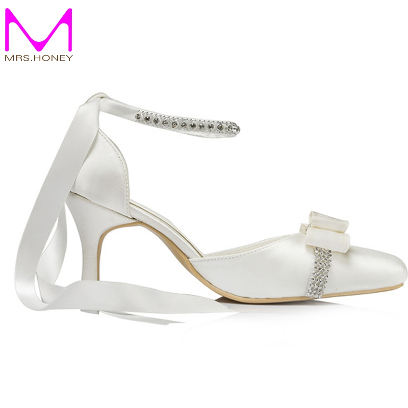 Custom Made Elegant Bridal Wedding Shoes Satin Champagne Color Middle Heel  Pointed Toe Women Rhinestone Strap Bridesmaid Shoes In Womenu0027s Pumps From  Shoes ...