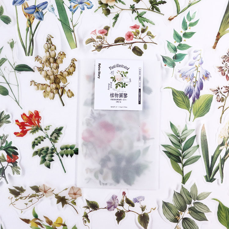 50 Pcs/pack Vintage Natural Plants Floral Bullet Journal Decorative Stationery Stickers Scrapbooking DIY Diary Album Stick Label