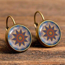 10 Types Vintage Flowers Drop Earring for Women Ethnic Mandala Resin Flower Pendientes Mujer Moda Brincos Boho Wholesale Jewelry vintage kaleidoscope flower drop earring for women blue purple indian mandala pattern round eardrop wholesale brincos 2018