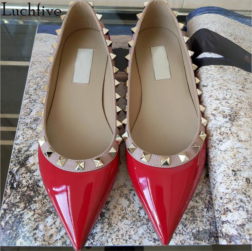 Rivets studded flat Heels Shoes Women Pointed toe patent leather red black beige slip on lazy loafers 2018 newest zapatos mujer new shallow slip on women loafers flats round toe fishermen shoes female good leather lazy flat women casual shoes zapatos mujer