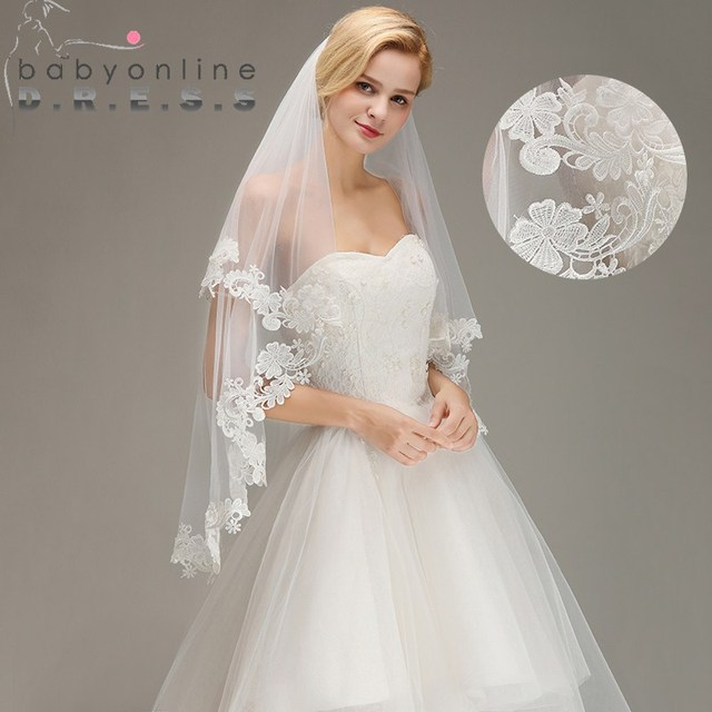 bcc0deb905 Velos de novia Lace Edged Two Layers 1.5M Short Wedding Veils With Comb  Soft Tulle