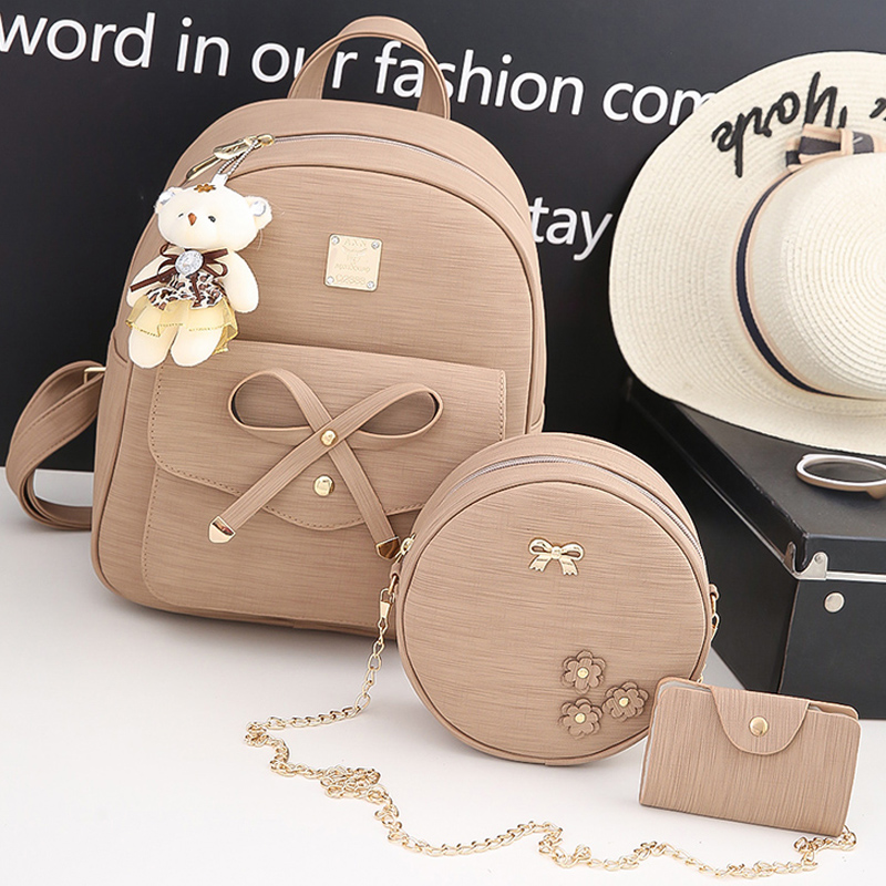 Fashion pu Leather Women Backpacks 4pcs set Rivet school bag for Teenage Girls bow Mochila Bags Lady Backpack Mochila children school bag minecraft cartoon backpack pupils printing school bags hot game backpacks for boys and girls mochila escolar