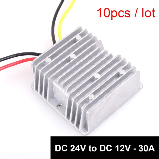 10pcs DC24v to DC12v Step Down 30A 360W Truck Power Supply Adapter Converter Waterproof Regulator for Truck Vehicle Solar System