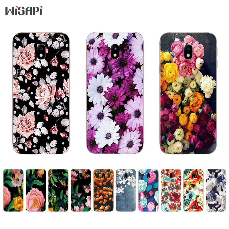 Galleria fotografica TPU Cases for Samsung Galaxy S8 / S8 Plus Phone Case for Galaxy J3 J5 J7 2017 Shell for J3 Prime Cover Retro Flowers Pattern