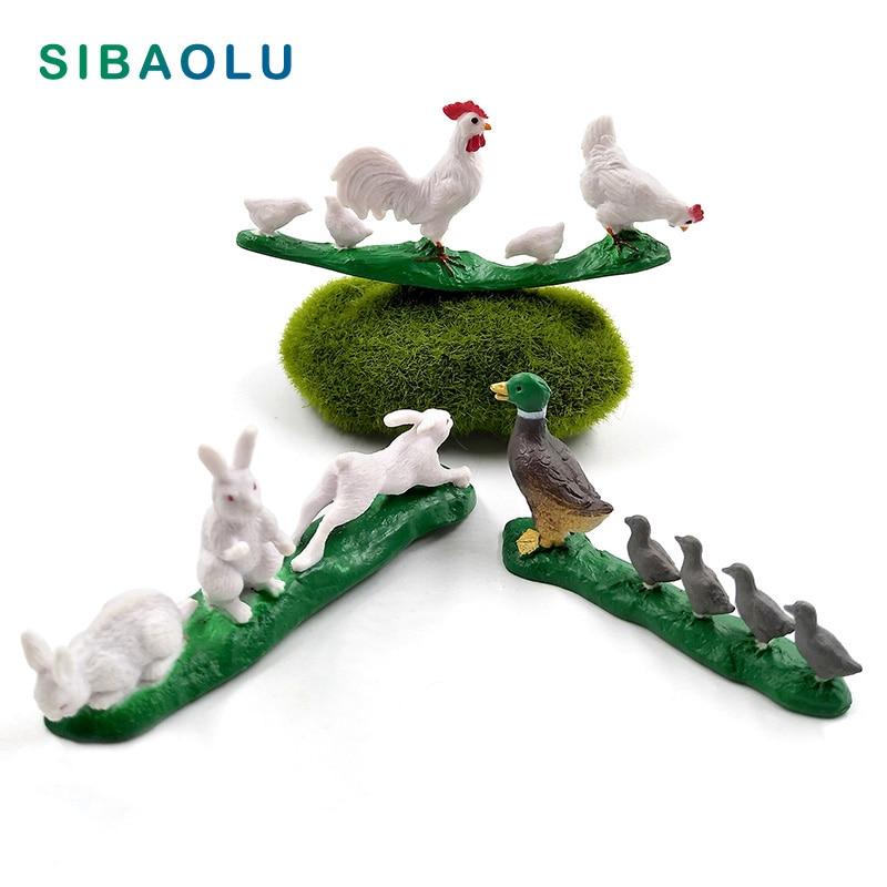 Artificial Lifelike Group Chicken Duck Rabbit figurine animal Model home decor miniature fairy garden decoration DIY accessories