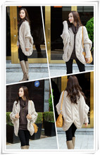 batwing sleeve tops Solid Knitting Coarse Wool Cardigans
