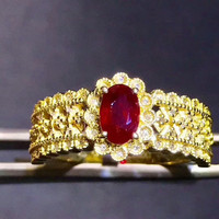 18k Gold Natural Red Gemstone Ring For Women Hot Sale MEDBOO 0 65ct Ruby Ring Wedding