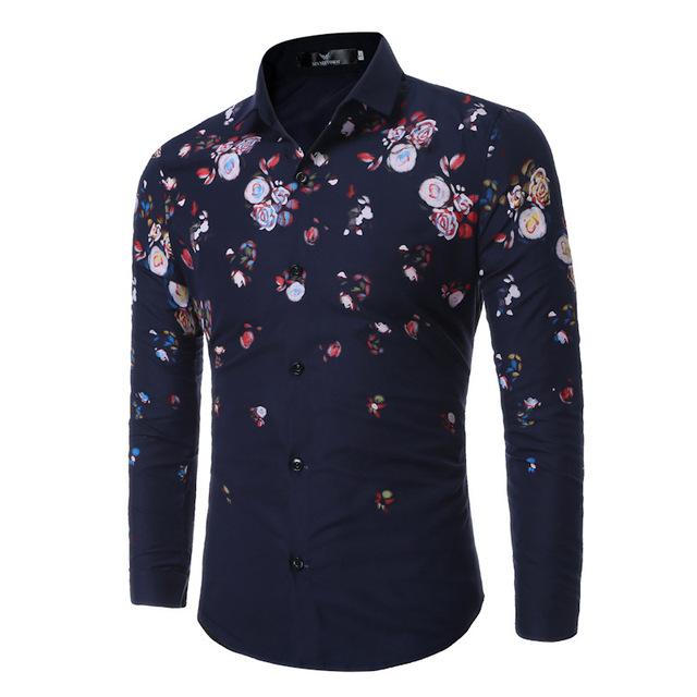 Men Casual Shirt Slim Fit Floral Shirt Tooling