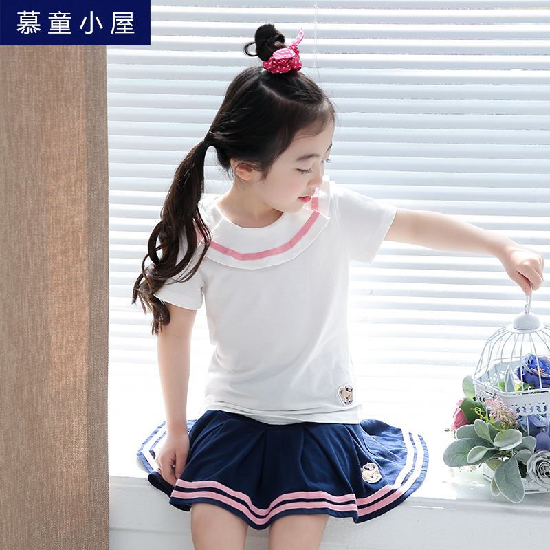 Brand summer cotton t-shirt and skirt Children clothing set for sport Toddlers kids girl 2 3 4 5 6 7 8 9 10 years  Girls clothes