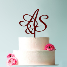 Personalized  Golden Wedding cake toppers, s topper, Two letters wood topper