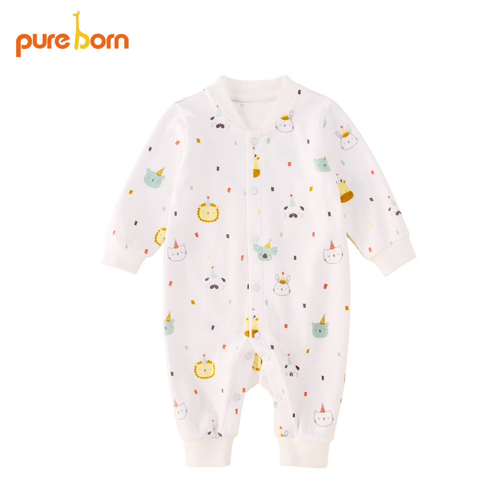 Pureborn Baby Clothes Spring Baby Romper Costumes for Newborn Infant Baby Girl Boy Organic Cotton Clothing Overalls Long Sleeve organic cotton baby romper soft newborn baby boy girl romper clothes long sleeve infant product baby clothing set ra5 12h