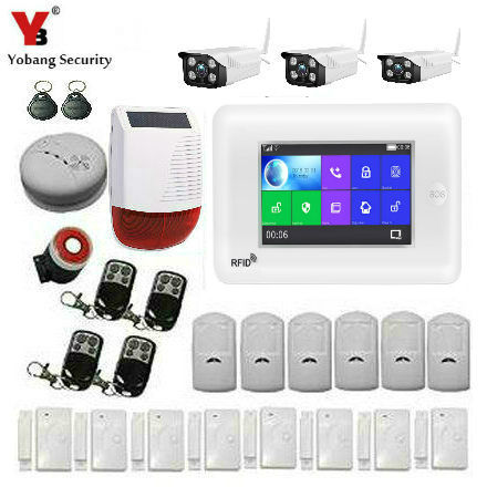 Yobang Security APP WiFi 3G WCDMA Burglar Alarm KIT Touch Screen Wirless Home Security Alarm System Video IP Camera Smoke Fire