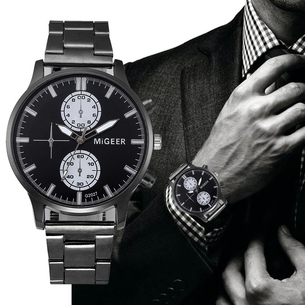 MIGEER Luxury Brand Men Dress Watches  Crystal Stainless Steel Analog Quartz Wrist Watch Bracelet Relogio Masculino Hours Clock
