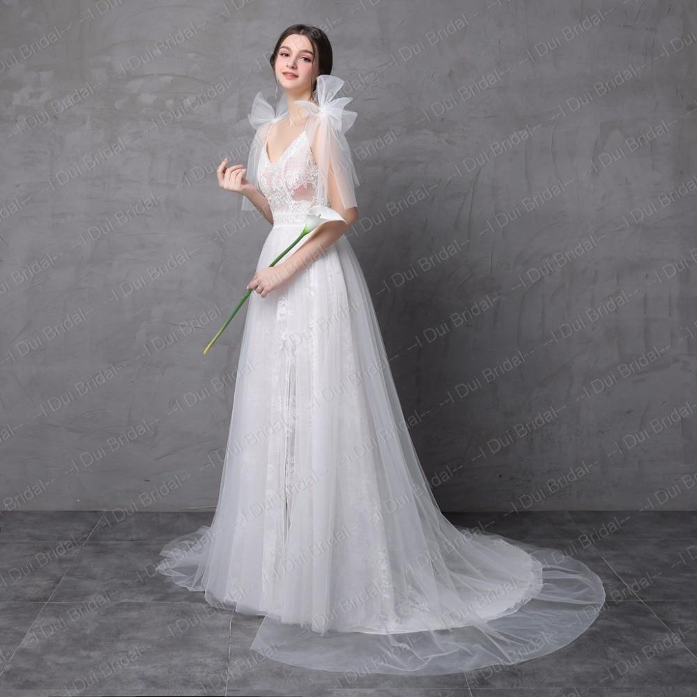 Nytt Stil Verkligt Foto Bröllopsklänning Spaghetti Bow Tie Strap En - Bröllopsklänningar - Foto 2