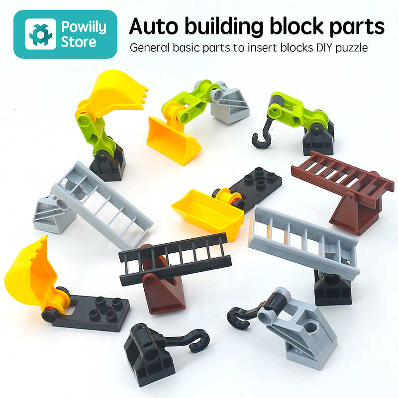 Original Big Building Blocks trailer accessory DIY Traffic Hook rotatable Accessories Compatible Duplo Baby Toys Sets Gift