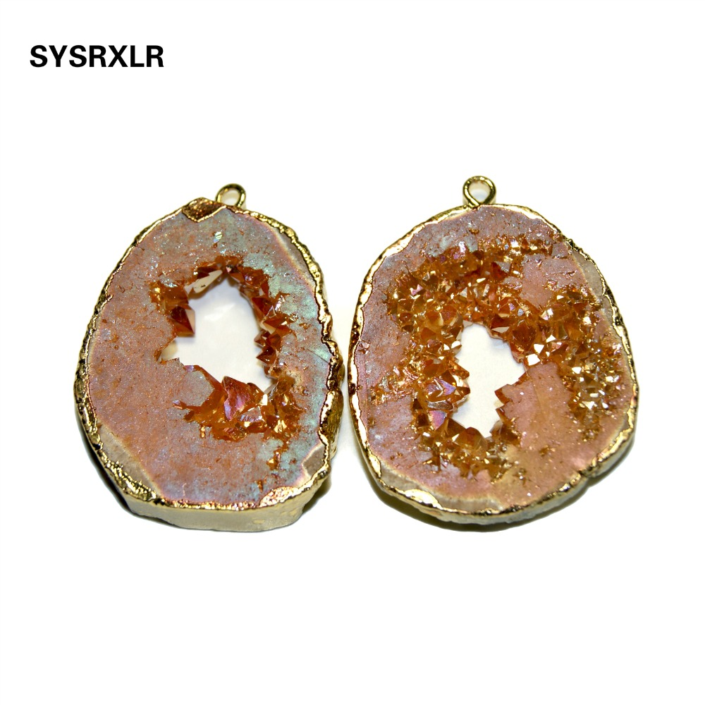Wholesale High Quality Natural Geode Pendant Unique Shape Irregular Natural Stone Pendant DIY Fit Necklaces For Jewelry Making in Charms from Jewelry Accessories