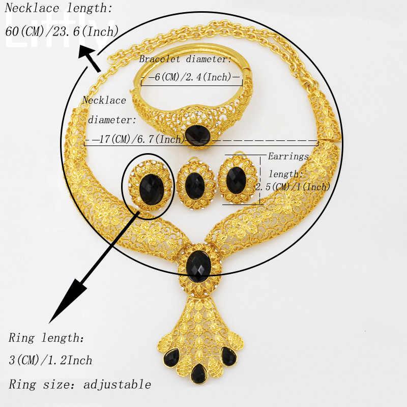 2019 ดูไบแฟชั่นการออกแบบสร้างสรรค์ 24 Gold ชุดเครื่องประดับคริสตัลสีดำสร้อยคอแหวนต่างหูเจ้าสาวงานแต่งงานของขวัญอุปกรณ์เสริม