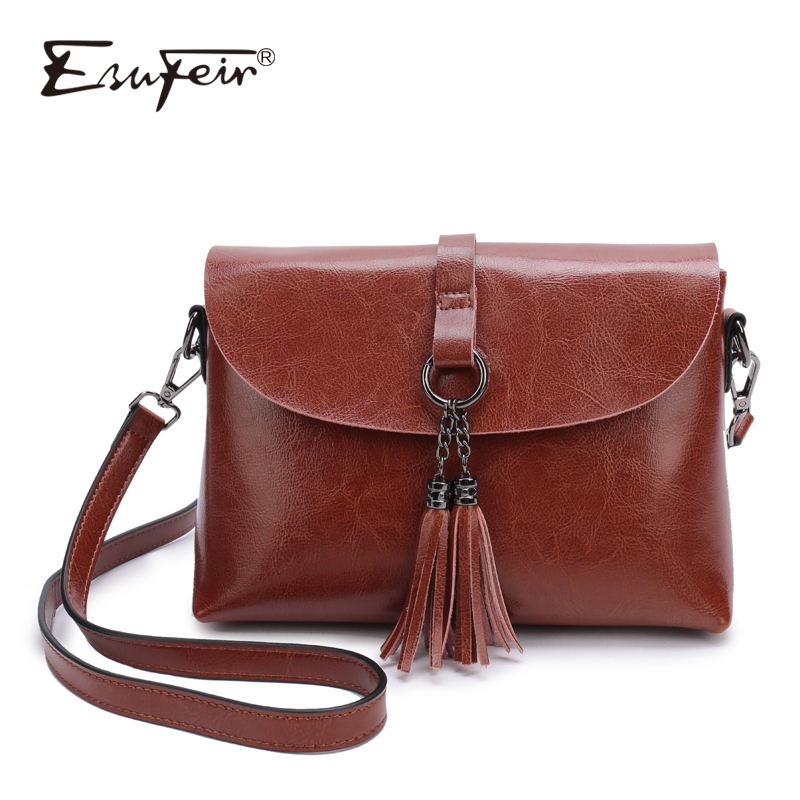 New Arrival Genuine Leather Women Bag Fashion Tassel Small Bag For Girl Simple Design Female Crossbody Bag Women Messenger Bag new arrival leather handbags women fashion phone bag female storage wallets