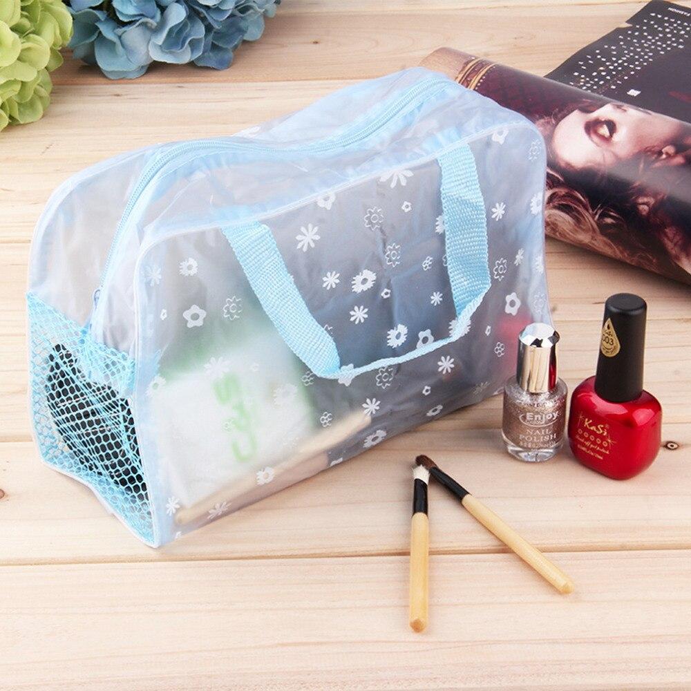 1c16e35310b88 1 قطع عالميا النساء سيدة السفر الأزهار طباعة شفافة للماء حقيبة ماكياج  مستحضرات التجميل أدوات الزينة الاستحمام الحقيبة