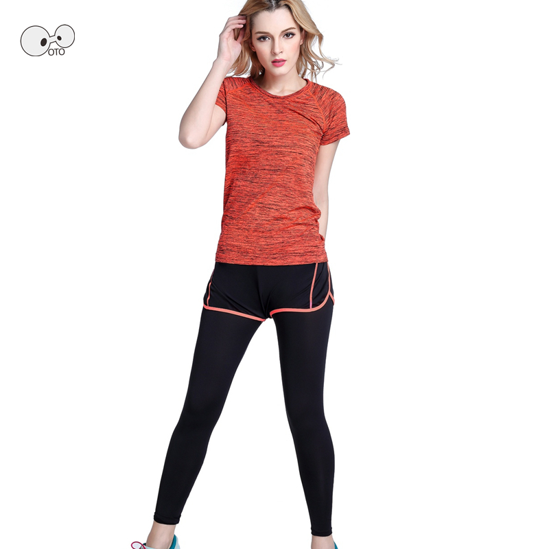 New Arrival Quick Dry Women Athletic Gym Yoga Clothes Breathable Running Fitness Stripe Short Sleeve Sport Shirts + Pants Sets