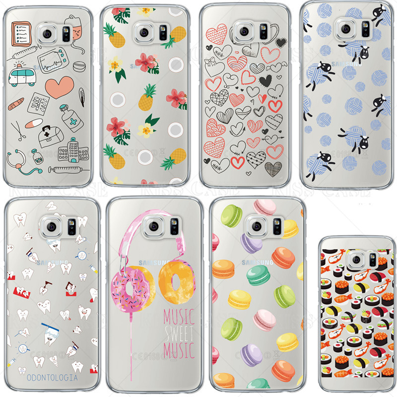 Doctors Donuts Cartoon Pattern Fundas For Sumsung Galaxy S7 S6 S5 Transparent Silicone Soft TPU Hot Selling Fashion Phone Case