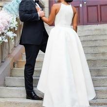 Simple สูงต่ำชุดแต่งงาน Dresses สปาเก็ตตี้สายรัด 2019 สีขาวงาช้าง Beach Gowns แต่งงานด้านหน้าสั้นกลับยาว Vestidos De Novia