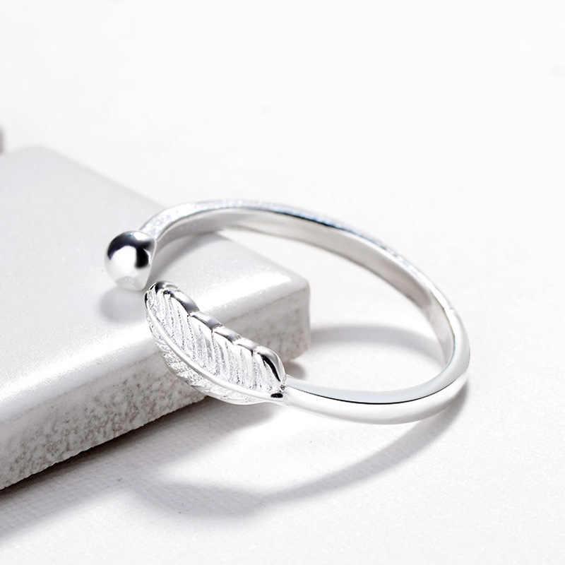 Bohemian ใหม่ 925 เงินสเตอร์ลิง Big Leaf ลูกปัดแหวนของขวัญปรับขนาดแหวนโบราณงานแต่งงานเครื่องประดับขายส่ง