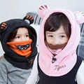 2017 Newest Fashion Winter Baby Hat Girls Toddler Hoodie Hat Cotton Warm Animal Protect Ear Neckguard Cap Scarf Fluffy Cute Tige