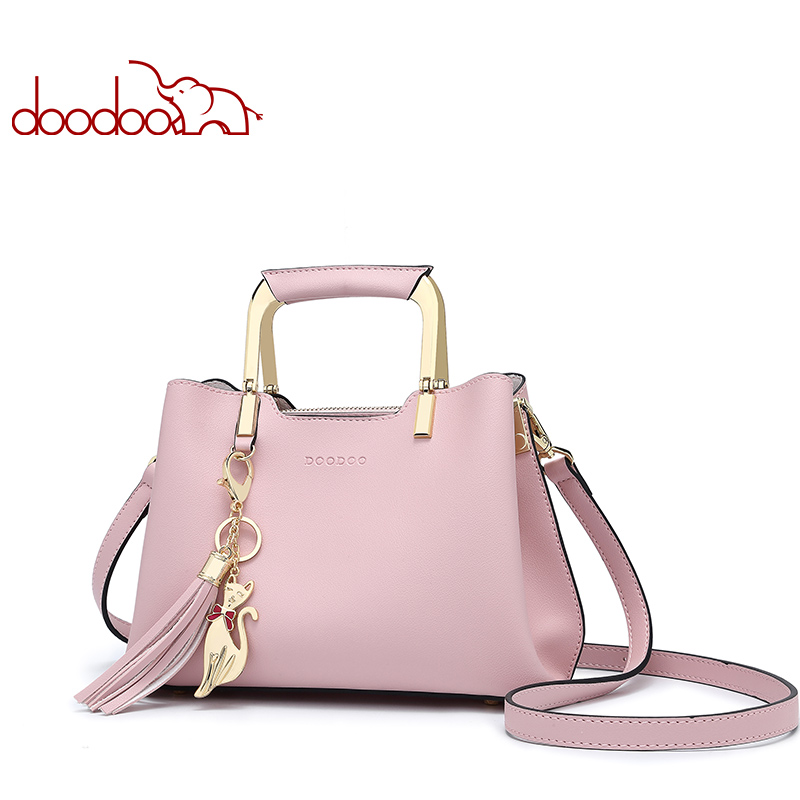 DOODOO Brand Women Handbag Tote Bag Female Shoulder Crossbody Bags Small Pu Leather Top-handle Tassel Messenger Bags 3 Colors jooz brand luxury belts solid pu leather women handbag 3 pcs composite bags set female shoulder crossbody bag lady purse clutch