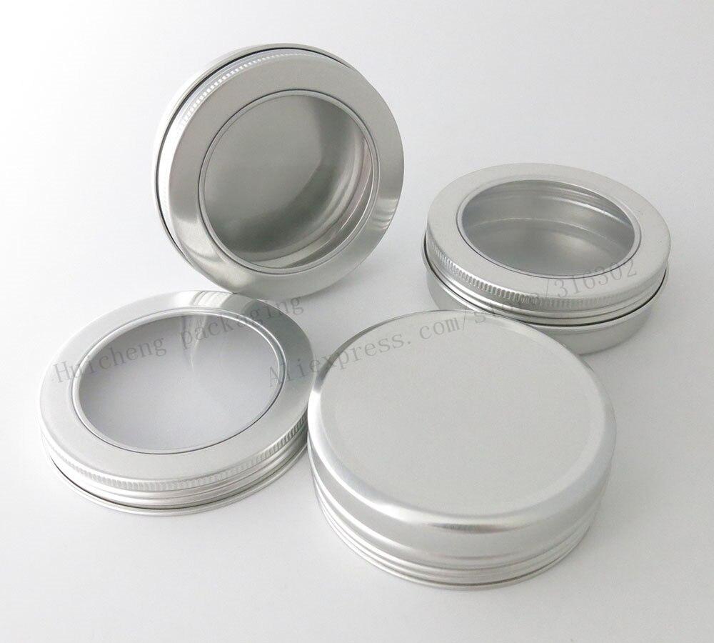 50 x 100g Aluminum Jar Container With Window 100ml Metal Display Tin for cream sugar storage