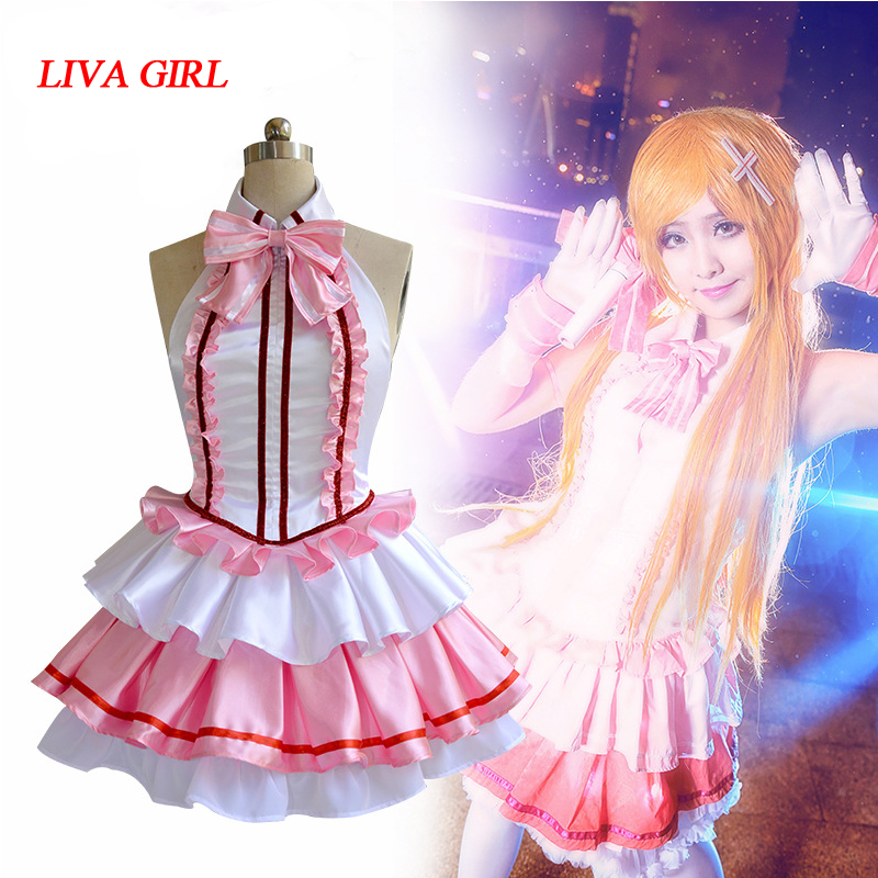Yuuki Asuna Dress Jaoanese Anime Sword Art Online Idol Utahime Yuuki Asuna Pink White Dress Cosplay Costume woman girl Clothes