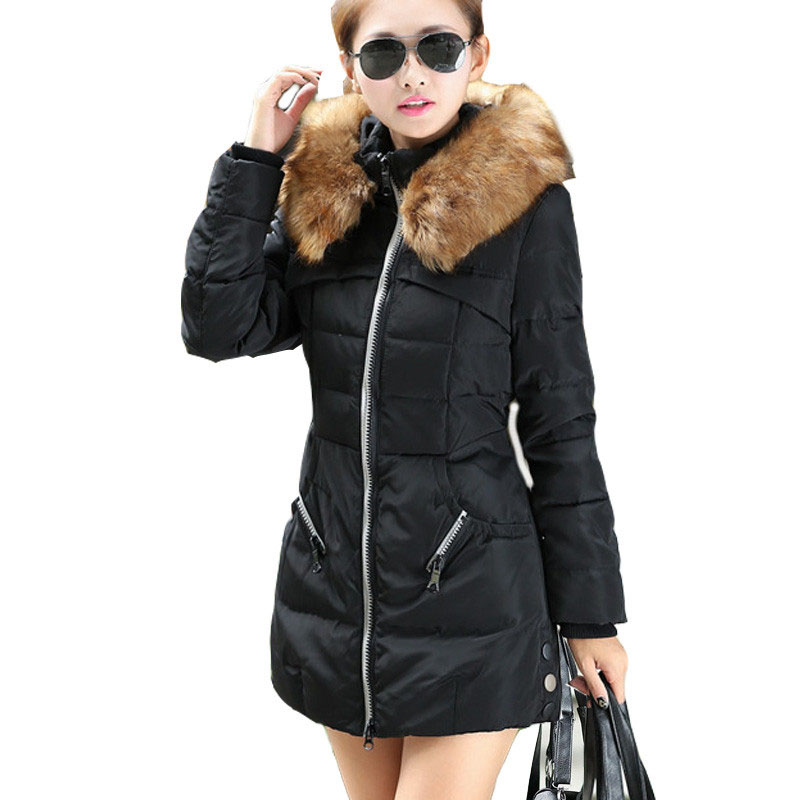 FICUSRONG Jacket Coat Women Cotton Down Parkas With Luxury Large Fur Collar Hood Thick Coat  Inverno Feminino New Winter Plus 2017 new warm double thick collar down cotton women jacket self design female parkas winter coat casaco feminino a126 170815