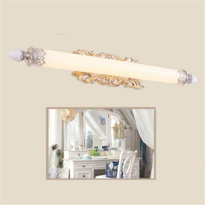 Modern European Pastoral Blue/Gold Carved Resin Led Mirror Front Light for Bathroom Bedroom Cabinet Wall Lamp 58/70/75cm 2225 светоотражатель lastolite 75cm gold white ll lr3041