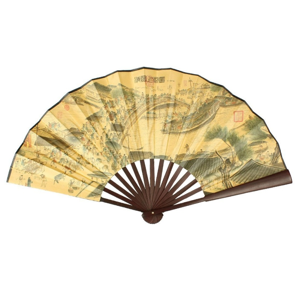 Chinese Poem Pattern Paper Bamboo Large Folding Hand Fan Dancer Fans ...