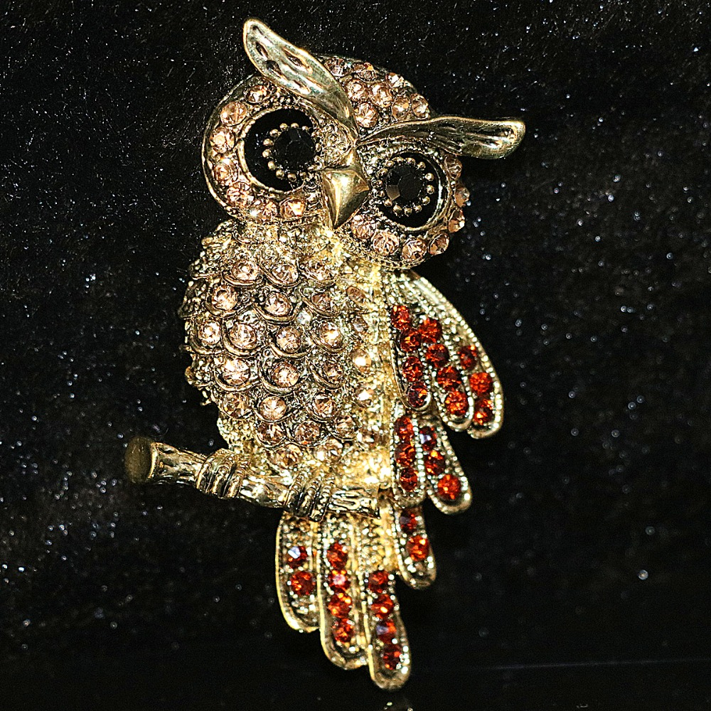 Charms animal design Owl brooch bling crystal weddings party women fashion jewelry B1198