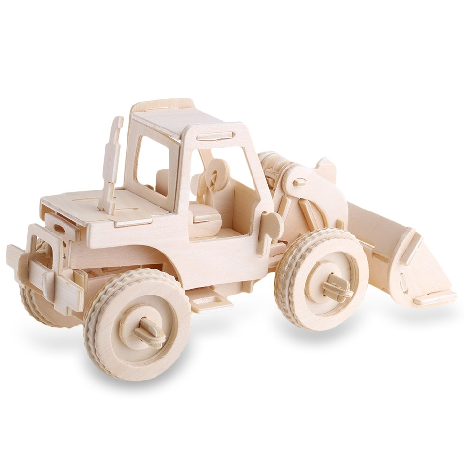 SEALAND G - P029 79 pcs Creative Wooden 3D Puzzle Forklift Excavator Model Simulation Construction Kit Toy Chidren Gift