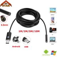 Endoscope Camera Stardot 5 5mm Lens 1M 2M 5M 10M Cable Waterproof USB Endoscope Android Borescope