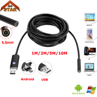 Endoscope Camera Stardot 5 5mm Lens 1M 2M 5M 10M Cable Waterproof USB Endoscope Android Borescope