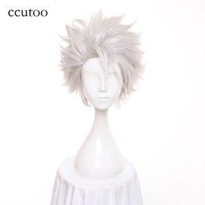 Ccutoo мужской отбеливатель Hitsugaya Toushirou короткий серебристый белый слоистый Пушистый Синтетические парики для косплея, термостойкие волокна