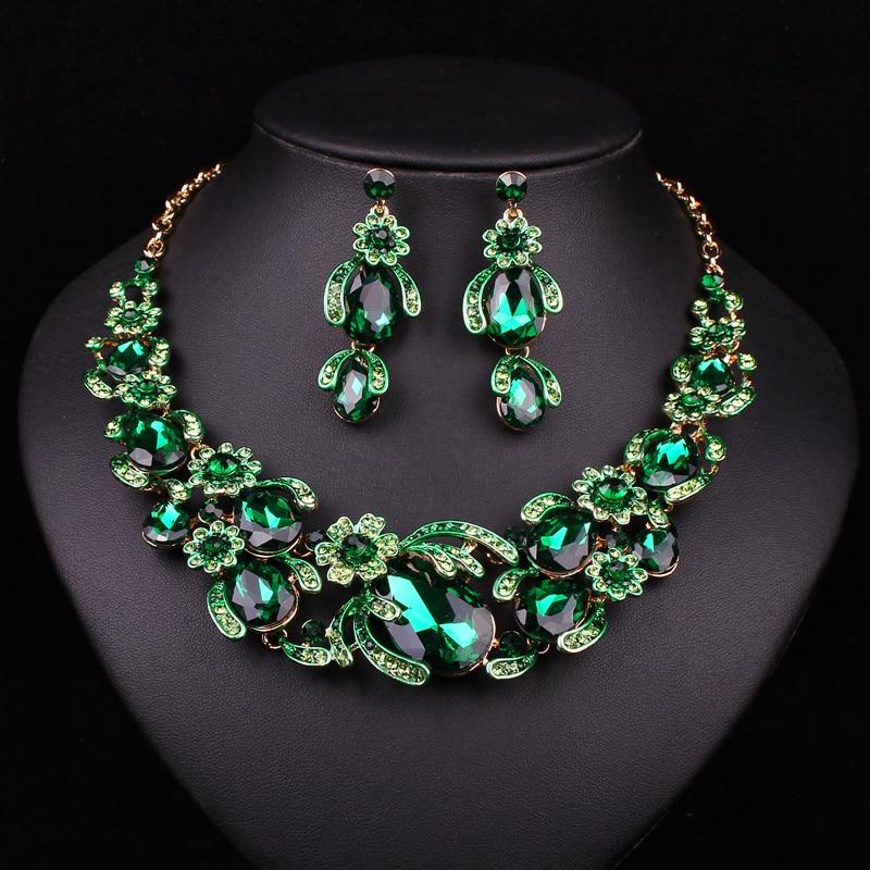 Fesyen Bunga Set Perhiasan Pengantin Kalung Perkahwinan Untuk - Perhiasan fesyen - Foto 3