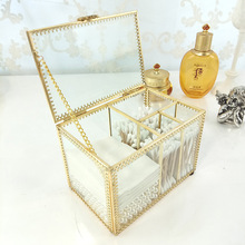 Retro Jewelry Box Dust-proof Makeup Glass Storage Transparent Gold Bronze Desktop Dressing