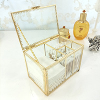 Retro Jewelry Box Dust proof Makeup Glass Storage Box Transparent Jewelry Box Gold Bronze Desktop Dressing
